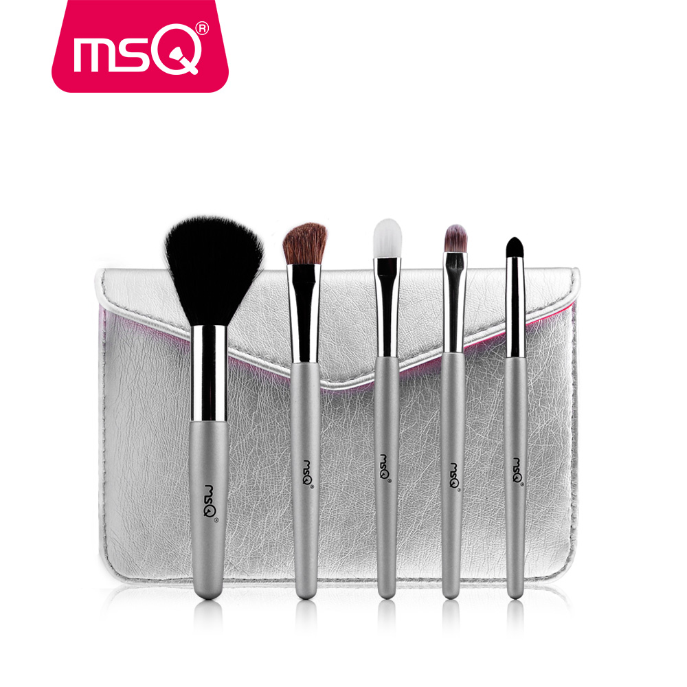 MSQ 5pcs Mini Makeup Brushes Set ForTravel Powder Eyeshadow Make Up Brush Soft Synthetic&Goat Hair With Silver PU Leather Case msq 15pcs 1 set pro makeup brushes makeup brush kit fiber goat hair with pu leather case makeup beauty tool