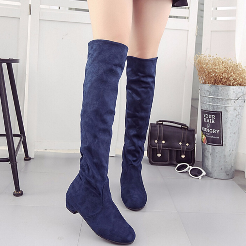Mulheres Botas De Cano Alto Sapatos Da Moda das Mulheres Sobre O Joelho Botas New Outono Inverno Flock Botas Feminina Coxa Botas Altas senhoras