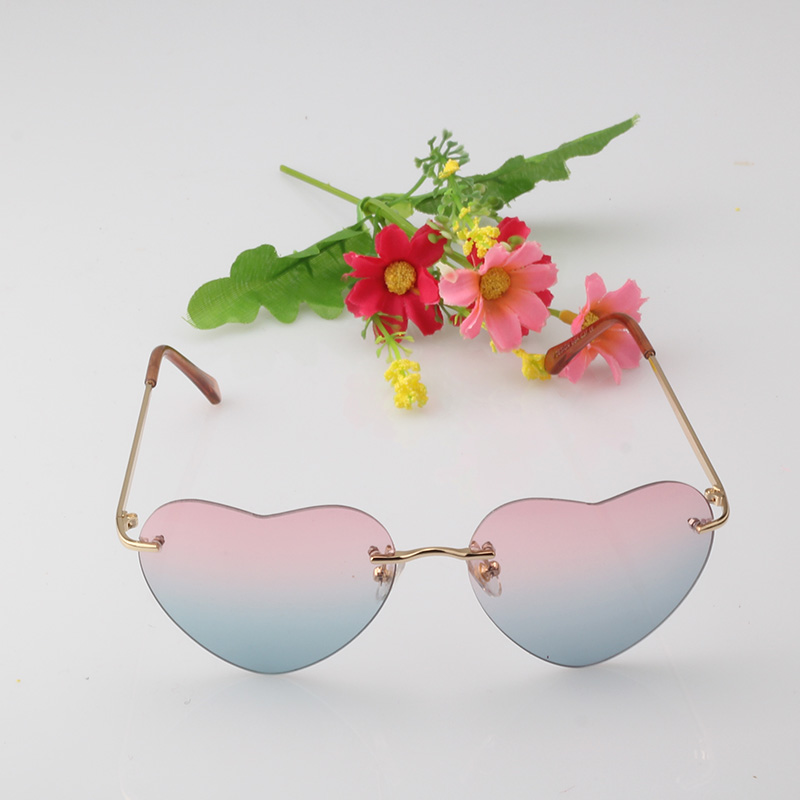 Candy Color Heart Shaped Sunglasses Women Metal Reflective Lens Fashion Sun Glasses Men Mirror Girl Gafas Oculos De Sol