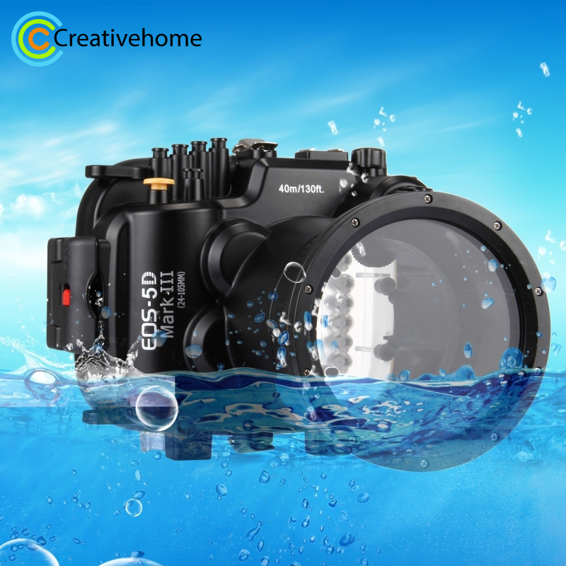 For Canon EOS 5D Mark III Housing 40m 130ft Waterproof Underwater Diving Case Camera Housing Case For Canon EOS 5D Mark III 5D 3 40m 130ft waterproof underwater camera housing case cover bag for canon eos 600d t3i camera two hands tray