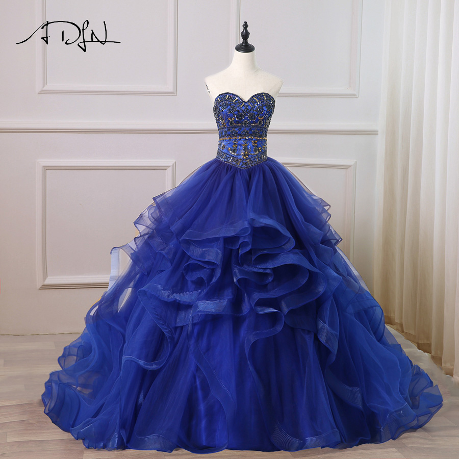 4c7366f68d3 ADLN 2018 Elegant Royal Blue Quinceanera Dresses Ruffled Tulle Sweetheart  Sparkling Stones Crystals Ball Gown Sweet