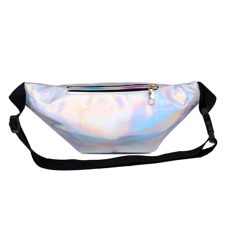 AIREEBAY holograficzny piterek kobiety srebrny Laser nerka podróż błyszczące saszetki na pas moda dziewczyny różowy skórzany Hologram torba na biodro