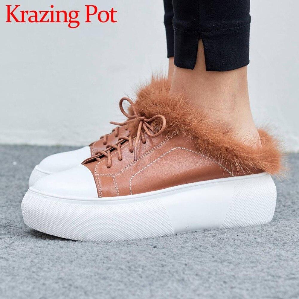 Colores Cuero Lujo Estilo De Mulas Zapatos 2018 Negro L91 Visón Bowtie  Deslizamiento Suave En Simple ... 80793766cfe2