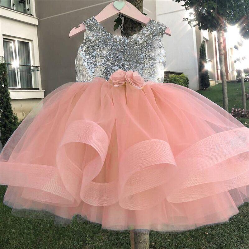 Prinses Baby Meisjes Fancy Trouwjurk Mouwloze Bloem Pailletten Verjaardagsfeestje Slijtage Peuter Kinderen Doopjurk Tutu Outfits