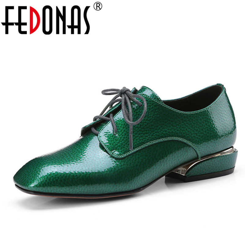 FEDONAS Luxury Women Patent Genuine Leather Brogue Pumps New Spring Autumn Loafer Shoes Black Green Sexy