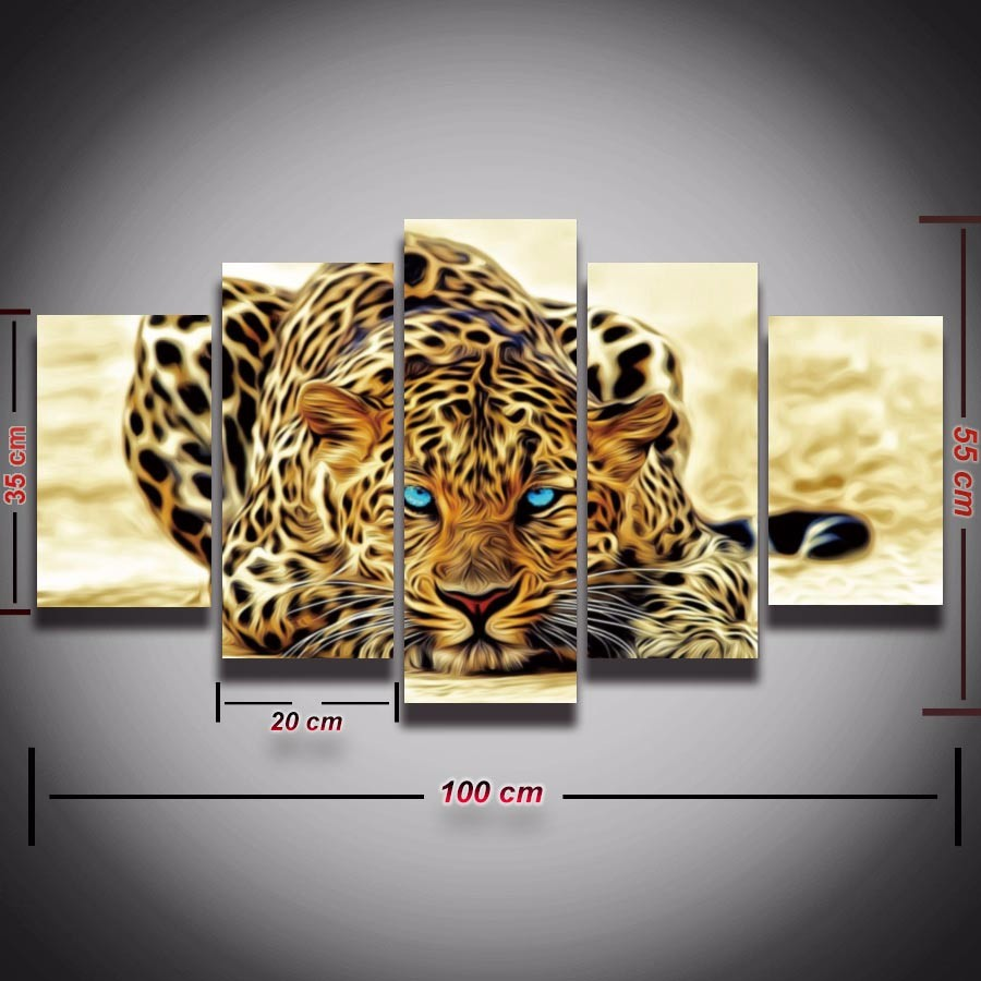 Leopard Bedroom Ideas For Painting: Leopard Cheetah Painting 5 Piece Animal Canvas Art Modern