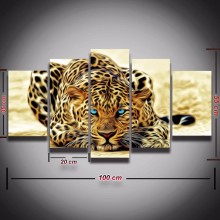 Leopard Cheetah Painting 5 Piece Animal Canvas Art Modern Wall Painting for Study Living Room Bedroom Wall Decor