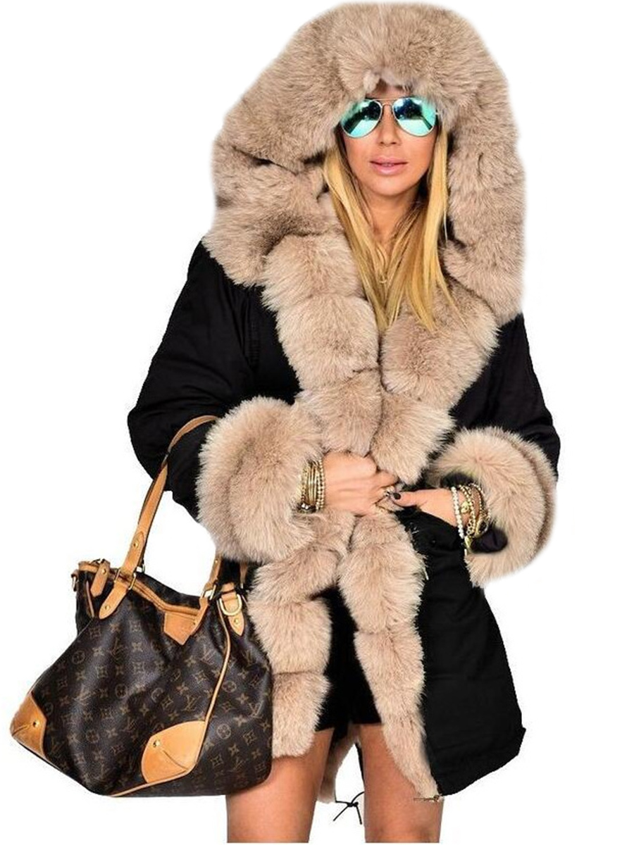 Women Ladies Winter Long Warm Thick Parka Faux Fur Jacket Hooded Coat S-4XL Size