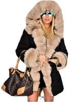 Women Ladies Winter Long Warm Thick Parka Faux Fur Jacket Hooded Coat S 4XL Size