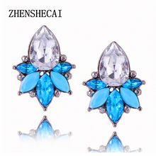 New Hot Crystal Stud Earrings For Women brincos 3 colors trendy push-back Gems Ear Stud Jewelry Bijoux Factory Wholesale e0223(China)