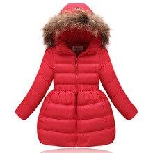fashion long fur hood children girl autumn/winter jacket red down girls coat