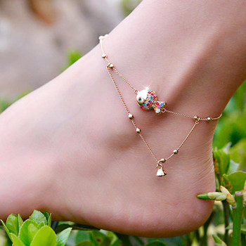 Fashion Cute Fish Anklet in 14k Rose Gold Chain Women Girl Lover Barefoot New Design Fish Women Anklet Sandal Beach Foot Jewelry