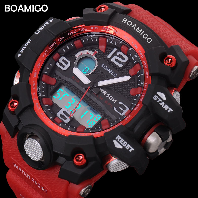 heren sport horloges BOAMIGO merk LED digitale horloges militaire analoge quartz horloge rode rubberen riem 50 M waterdicht reloj hombre