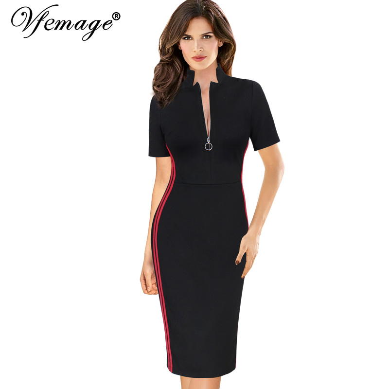 3a5e452e504f US $21.99 |Vfemage Womens Elegant Front Zip Colorblock Contrast Athleisure  Work Business Casual Party Slim Fitted Bodycon Sheath Dress 161-in Dresses  ...