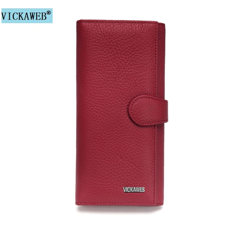VICKAWEB New Hasp Wallet Women Genuine Leather Soft Solid Women Purse Long Ladies Leather Wallets Fashion Coin Purses & Holders vickaweb genuine leather small wallet women wallets alligator short purse coins hasp girls wallet fashion female ladies wallets
