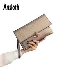 Ansloth Solid Color Clutch Bag Women Fashion Buckle Day Clutches Lady Evening Party Bag Evelope Bag Female Shoulder Bag HPS592 цена