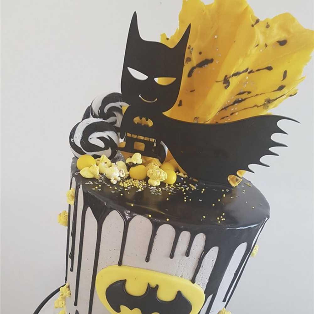 アクリルバットマンケーキカップケーキトッパー 2019 新しい漫画のファッションかわいいクリエイティブバットマン子供少年パーティー誕生日デコレーションケーキトッパー