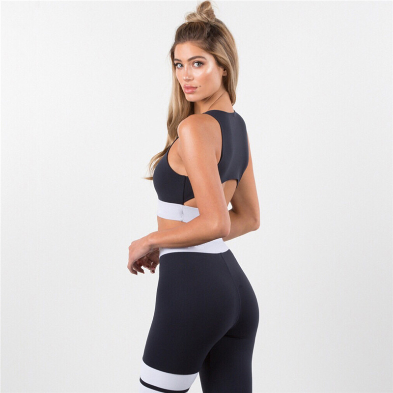 Women Tracksuit Solid Yoga Set Patchwork Running Fitness Jogging T-shirt Leggings Sports Suit Gym Sportswear Workout Clothes S-L 9