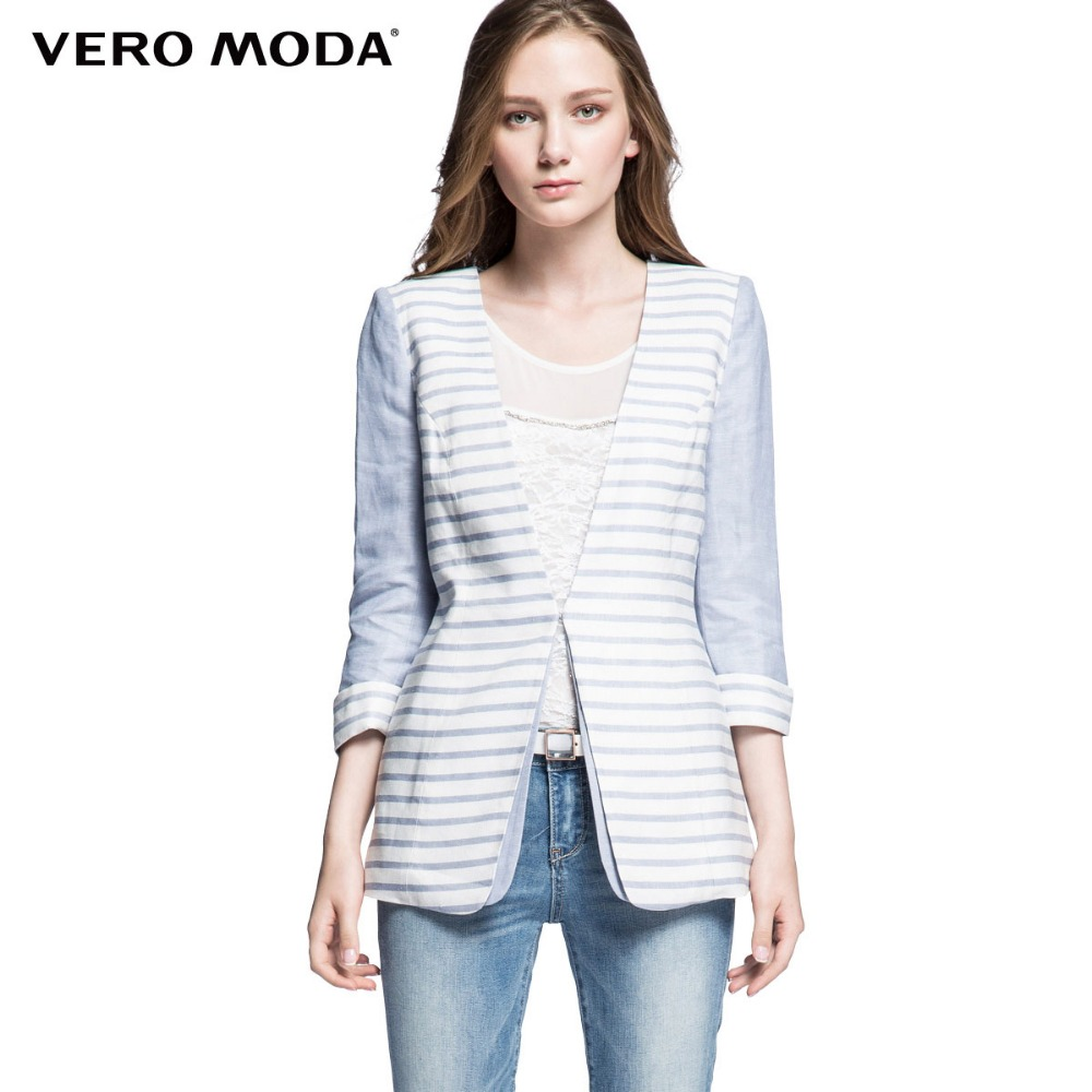 Vero Moda Brand font b women b font slim stripe printed blue tops jacket vogue colors