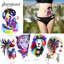 1 Sheet Watercolor Beauty Women Body Makeup Tattoo Back Waist Art Decal Lion Elephant Temporary Tattoo Sticker Paper Latest