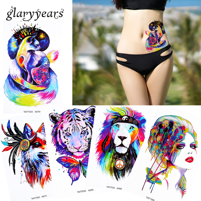 1 Sheet Watercolor Beauty Women Body Makeup Tattoo Back Waist Art Decal Lion Elephant Temporary Tattoo Sticker Paper Latest