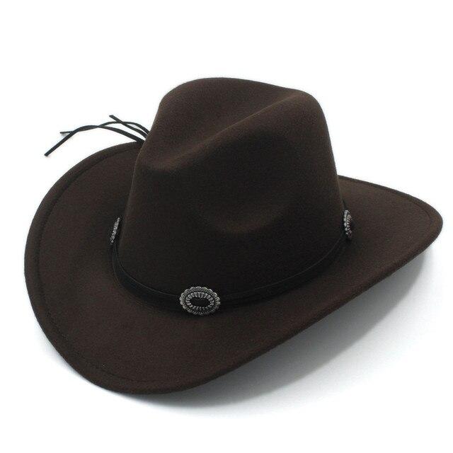 93d1d9e5 Gorro Fedora de lana para hombre de lana para caballero vaquero occidental  vaquera gorra Jazz con