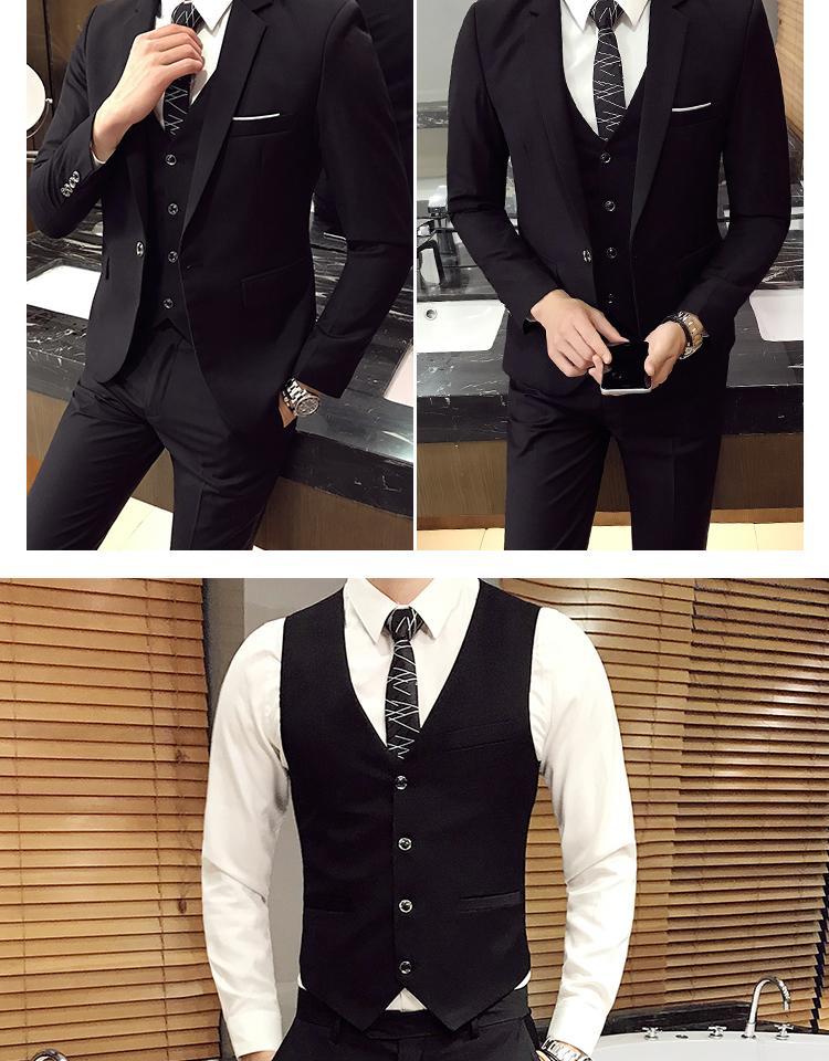 Blazers calças colete 3 peças conjuntosmoda masculina