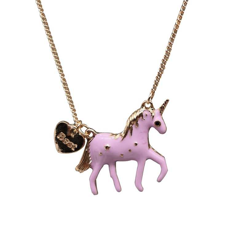 New Hot Fashion Jewelry Necklace Cute Pink/purple Oil Glaze Horse Unicorn Pendant Necklace Girls Gift Drop Shipping