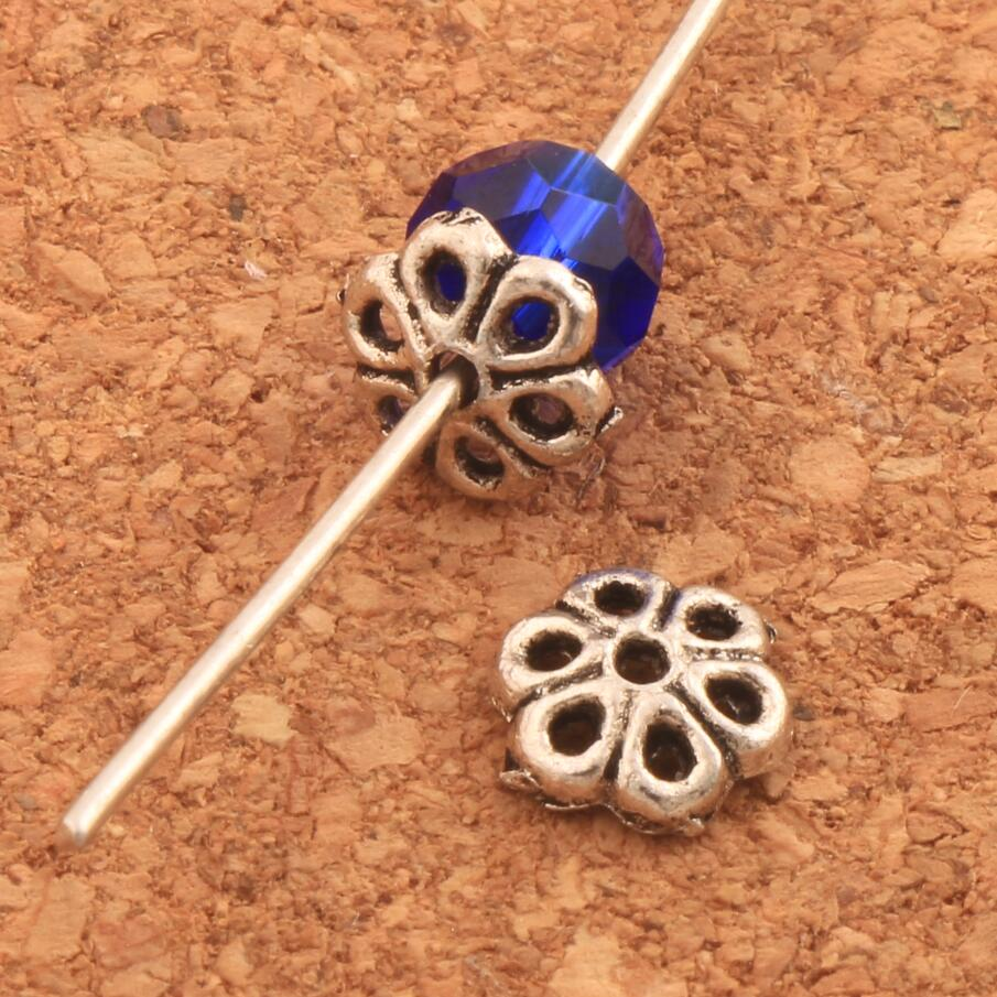 Hollow Daisy Flower Dots Bead Cap 6.5x6.5mm 1000PCS Antique Silver Jewelry Findings Components L1028