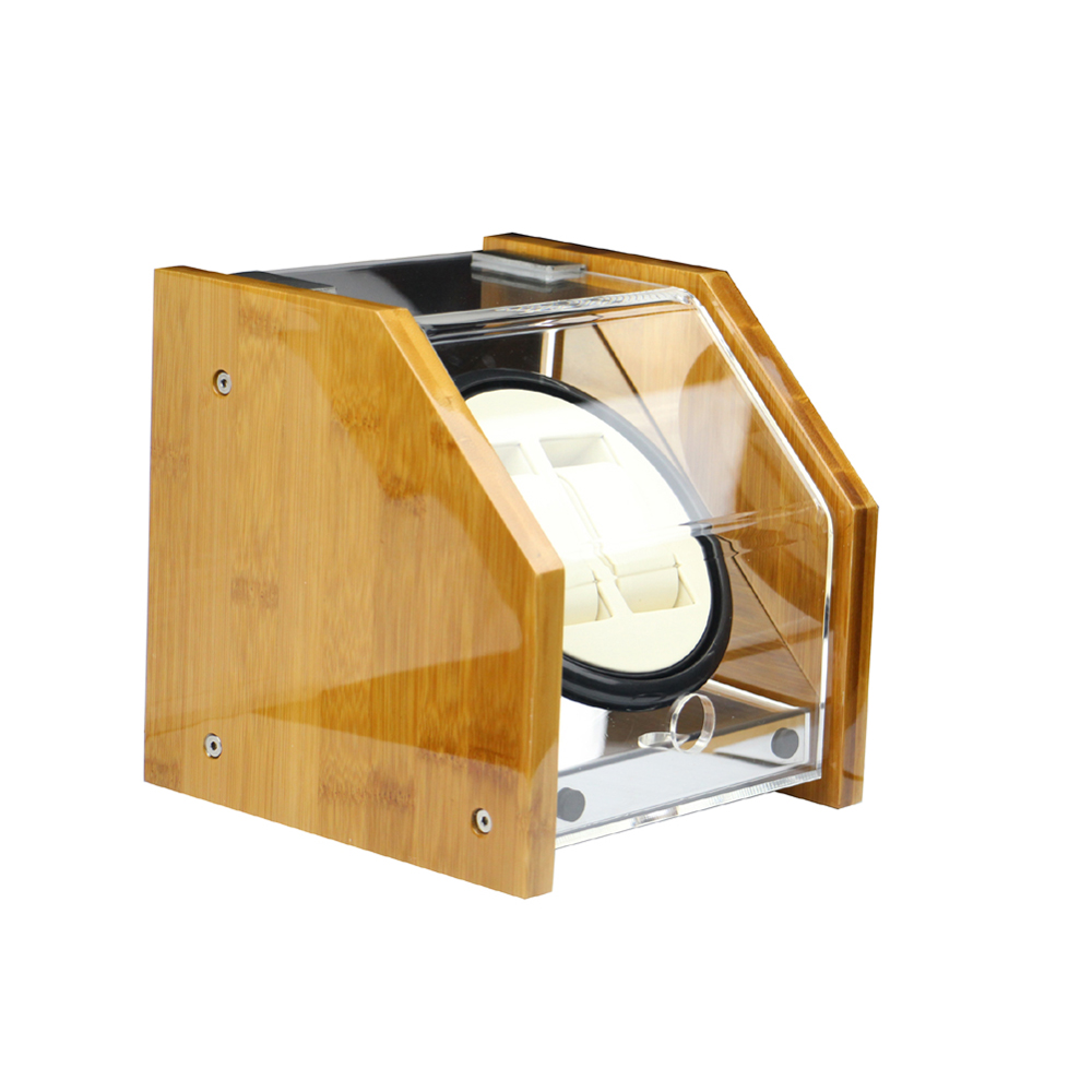 Watch Winder ,LT Wooden Automatic Rotation 2+0 Watch Winder Storage Case Display Box yellow(Inside is white) 2016 latest luxury 5 modes german motor watch winder yellow spray paint wooden white pu leater inside automatic watch winder