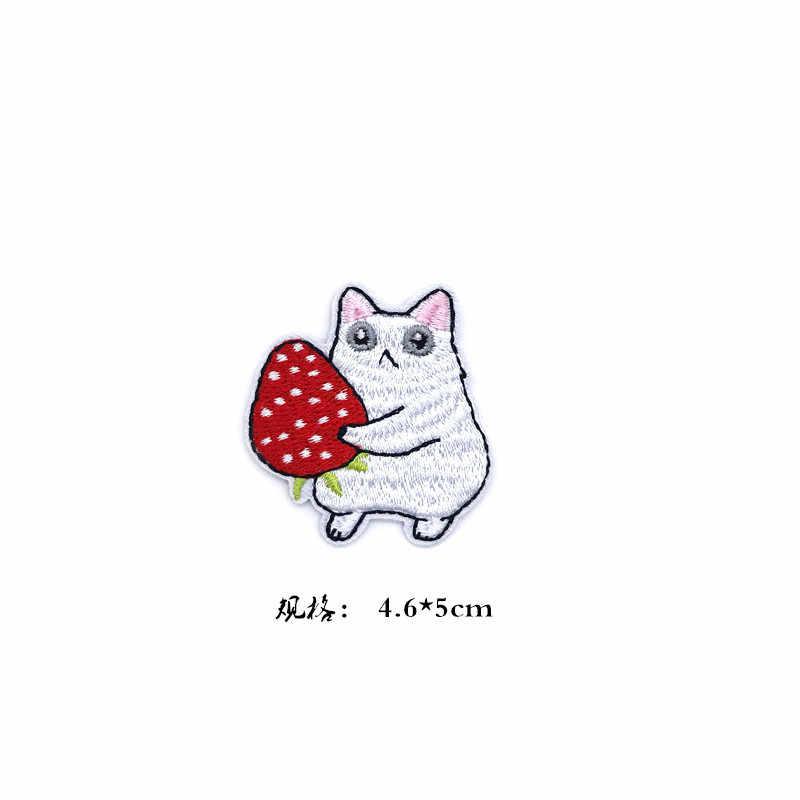 Cartoon Obst Tier Katzen Patches für Kinder Kleidung Eisen auf Applikationen DIY Streifen Stickerei Aufkleber Nähen auf Nette Blumen Abzeichen