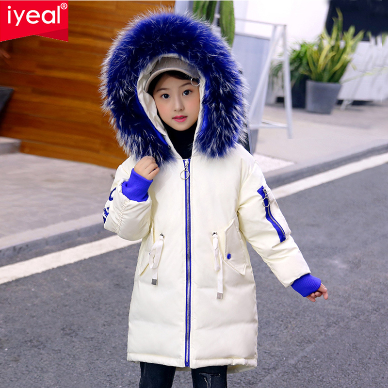 IYEAL Kids Girls Winter White Duck Down Parkas Medium Long Jackets Large Colorful Fur Hooded Warm Coat Children Outerwear 4-12Y iyeal fashion hooded large fur collar winter down coat long jacket kids girls warm down parkas children thicken outerwear 4 12t