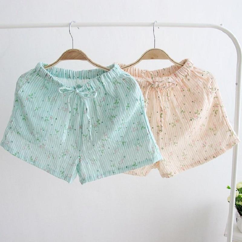 Damen-nachtwäsche Aufstrebend Sommerschlaf Shorts Baumwolle Pyjama Hosen Striped Floral Schlaf Bottoms Für Nette Mädchen Frauen Unterwäsche Lässige Lounge Verschleiß