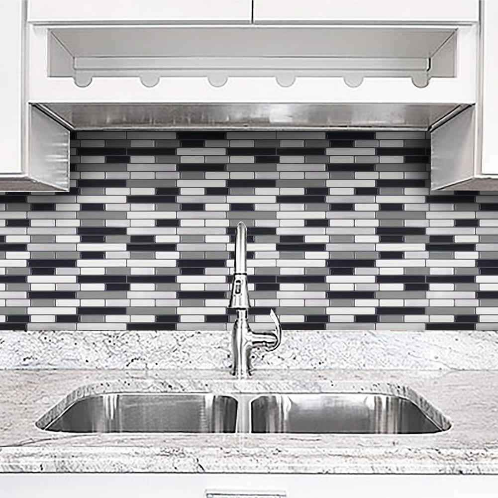 Home Kitchen PVC 3D Mosaic Bricks Style Self-adhesive Removable Wall Sticker
