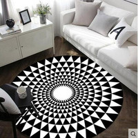 Simple and stylish modern plaid 3D printing round creative living room coffee table sofa bedroom study Nordic rug