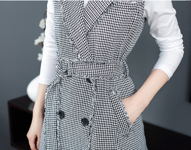 7d6559d7df4 HAMALIEL Houndstooth Tweed Sleeveless Women Dress Runway Autumn Winter  Double-Breasted Plaid Vest Notched Collar