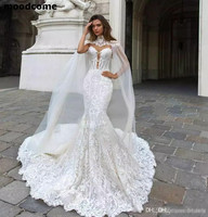 2018 Mermaid Wedding Dresses Sheer Neck Lace Bridal Gowns With Cape vestido de novia Boho Plus Size Wedding Dress
