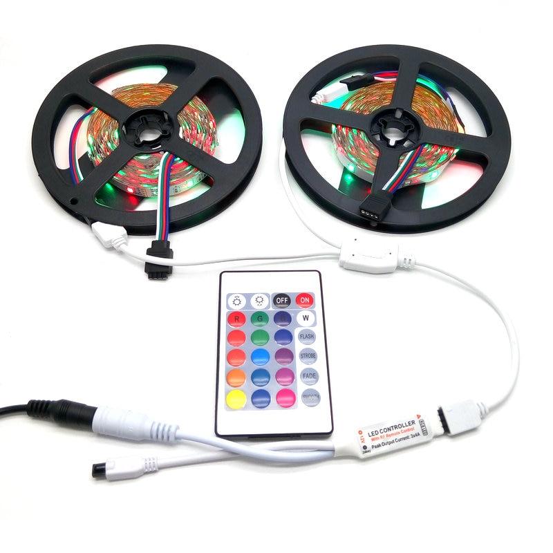 10M LED csíkkészlet SMD 3528 RGB 24Ke-es IR vezérlővel, 12V DC - LED Világítás - Fénykép 3