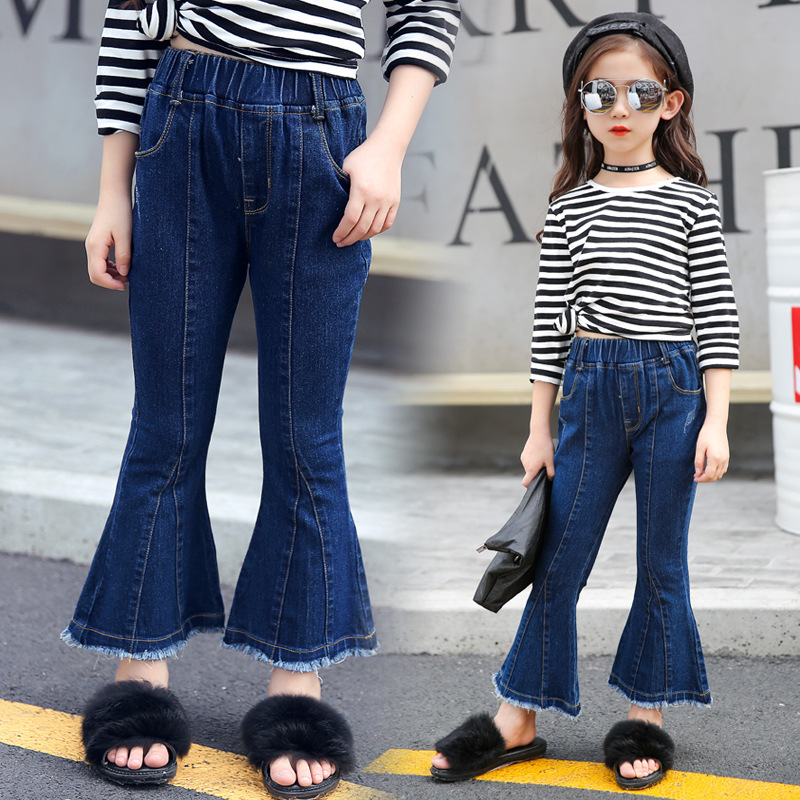 offer discounts genuine search for newest US $9.72 19% OFF|Female child Flare jeans 2017 autumn new Korean fashion  baby children's trousers for kids Wild denim pants princess clothes-in  Jeans ...