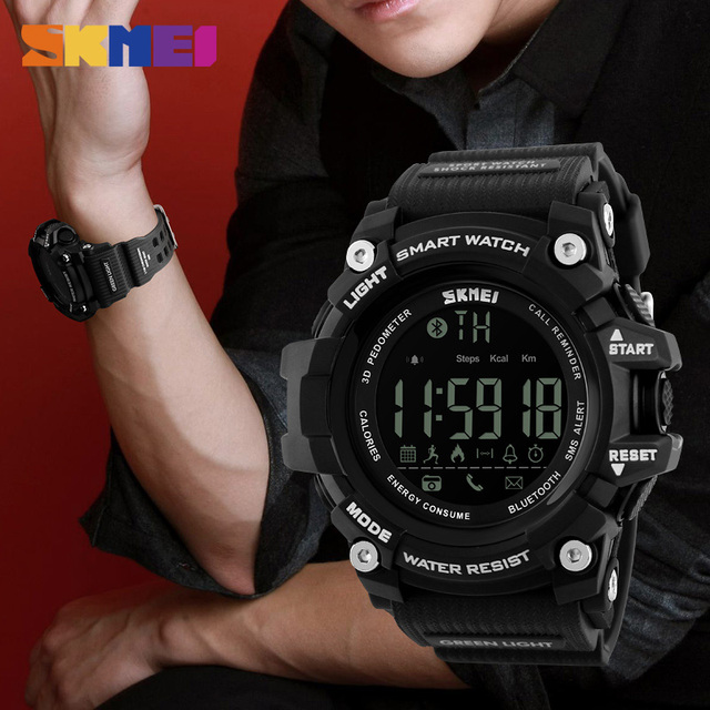 SKMEI 1227 Brand Men Digital Wristwatches Smart Watch Big Dial Fashion Outdoor Sport Watches EL Backlight Waterproof Man Clock