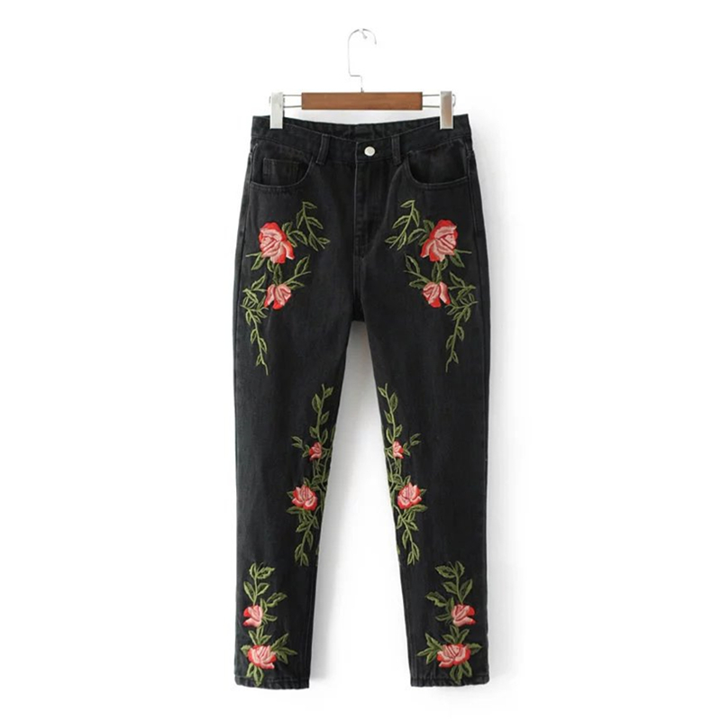 ФОТО Kings&pauper Brand 2017 Fashion New High Quality Black Embroidered Jeans for Women with Embroidery Rose Denim Cotton Femal Pants