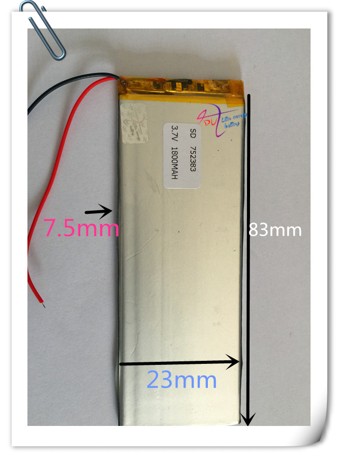 10 pcs 3.7V 1800mAh Lithium Polymer LiPo Rechargeable Battery For PAD GPS PSP Vedio Game E-Book Power Bank model: 752383 3 7v lithium polymer battery 505050 1400mah mp4 mp5 psp consoles