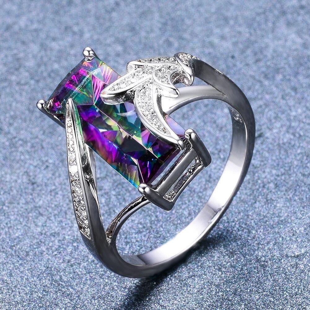 Nuevo mujer de piedra del arco iris de moda de anillo de oro blanco anillo de compromiso joyería colorido Cubic Zircon anillos de boda para el regalo de las mujeres