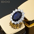 British Princess imitation sapphire ring with money, luxury classic Austrian zircon rings, women and elders gifts