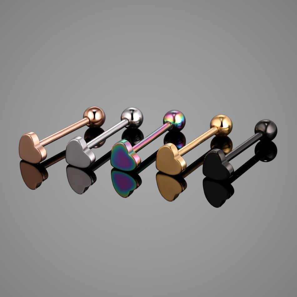 1 PC เหล็กเจาะ Barbell อุตสาหกรรม Barbell Heart หัวนมเจาะอุโมงค์เนื้อหูปลั๊กขยายหูเครื่องประดับ