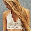 2016 Blusas de Encaje Mujeres Crop Top Fashion Beach Tops de Ganchillo Camisa Corta Hollow Out Bikini Ropa de Playa
