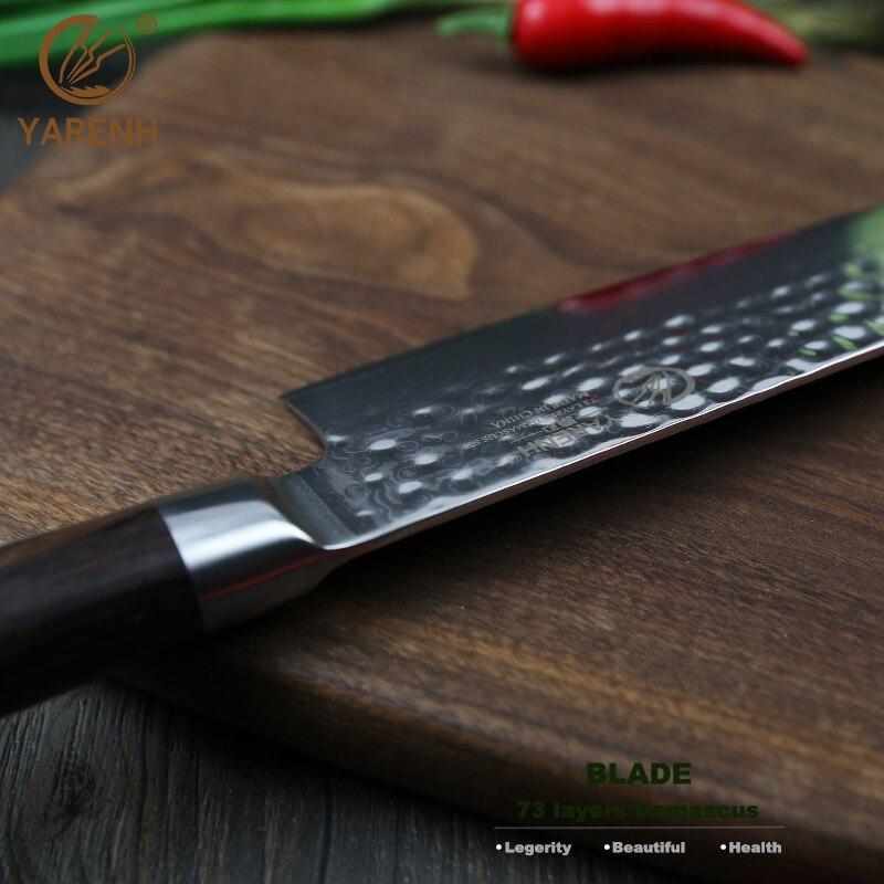 YARENH del cuoco unico della lama Jananese Damascue acciaio inox 10 pollice coltelli da cucina di damasco damasco lama di strumenti di cottura da cucina accessori da cucina-in Coltelli da cucina da Casa e giardino su  Gruppo 3