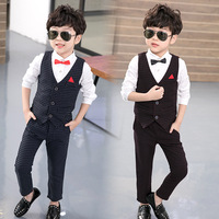Boy Suits for Weddings Prom Formal Suits Birthday Dress for Boys Tuexdo Children Clothing 2 piece Vest + pants