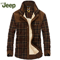 AFS JEEP plus velvet shirt the new fall and winter men's brand lapel thickening warm men shirt fashion plaid men's shirt 136