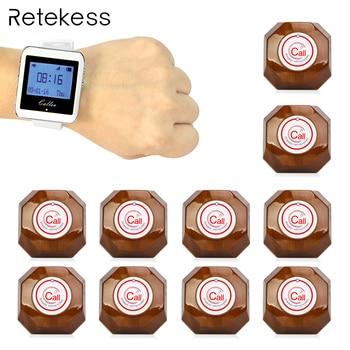 Retekess Беспроводной вызова Системы 1 часы приемник + 10 кнопку вызова пейджера Ресторан оборудование для быстрого Еда Cafe больницы F3288B